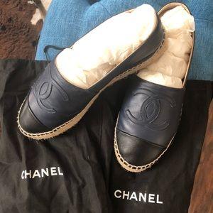 Chanel Black /blue Lambskin Espadrilles Flats
